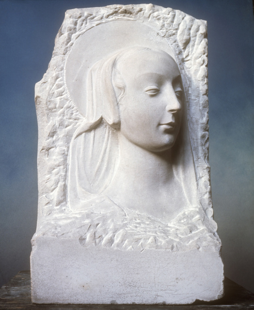 Head of the Virgin, Henry Moore, 1922–3, Marble, © Reproduced by permission of The Henry Moore Foundation