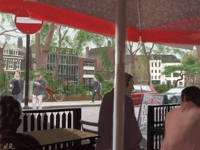 Hoxton Square. iPainting overlaid on photograph.