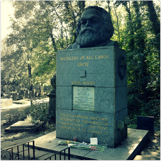 Karl Marx's grave in Highgate Cemetery, by Stephen Iliffe