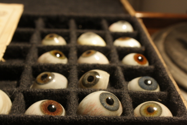 Victorian Prosthetic Eyeballs, Photo by Heather McCalden. Image courtesy of Black Rat Projects.
