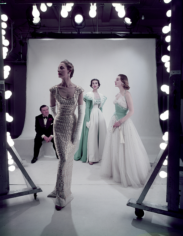 Norman Hartnell in the studio with models