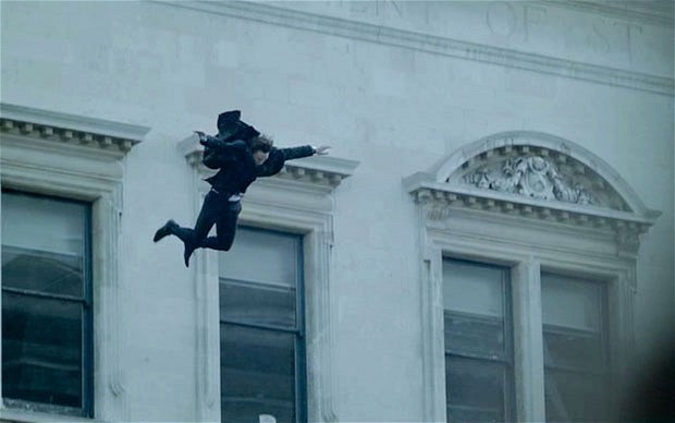 Holmes plummets from St Bart's in this still from Sherlock.