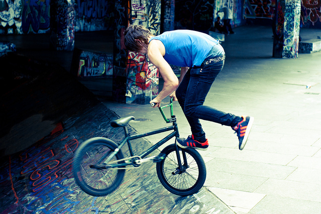 A BMXer on the South Bank