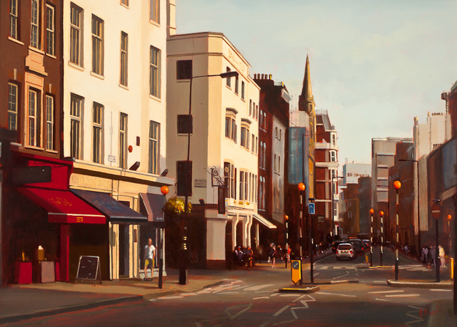 Michael J Ashcroft, Sun Setting Marylebone High Street. Courtesy Thompson's Gallery