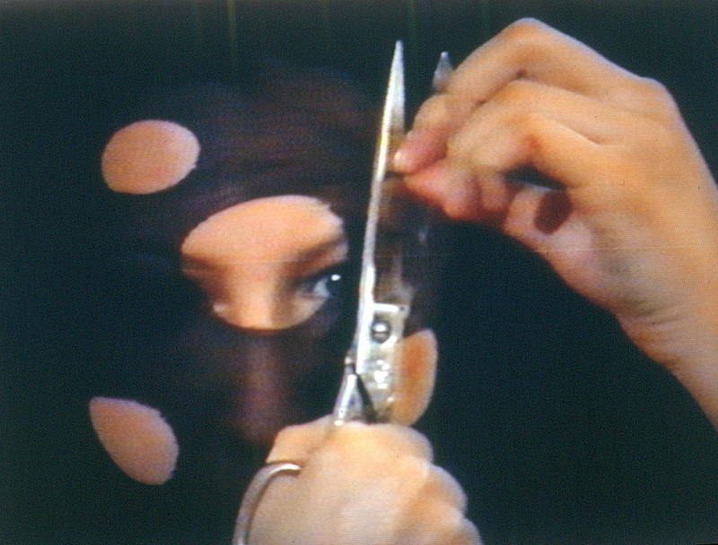 Sanja Iveković, Personal Cuts, 1982, 3'43'', still from video, colour, sound. Image courtesy of the artist.
