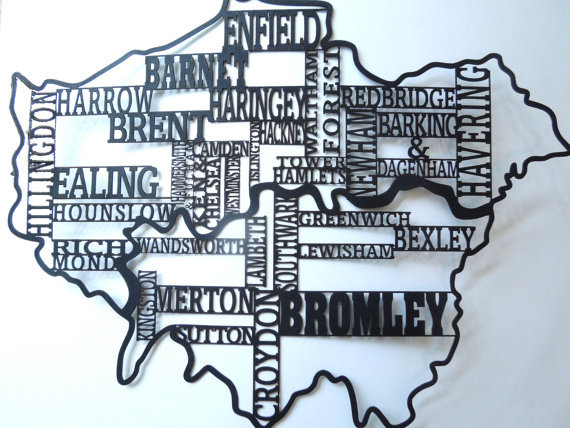 Santa's Lap: London Boroughs Silhouette Map