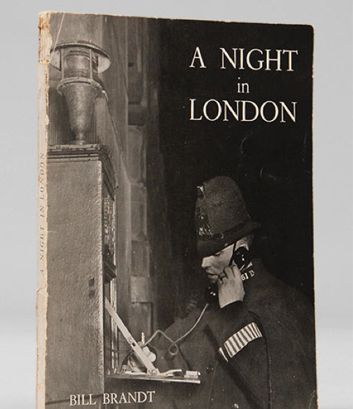 "A Night in London. Story of a London Night in Sixty-Four Photographs. By Bill Brandt, 1938. First edition, first impression. ""A magnificent piece of work, and a classic of its type. There is some speculation that the scarcity of this publication is in part due to enemy action. Certainly its publisher was badly hit by the fire in Paternoster Row and copies of this delicate and influential work are uncommon"" (£3750 - gulp)."