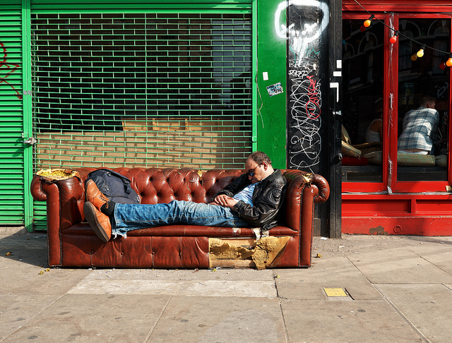 Couch surfing, by Bilkeau, from 'Londoners Sleeping' on 13 April