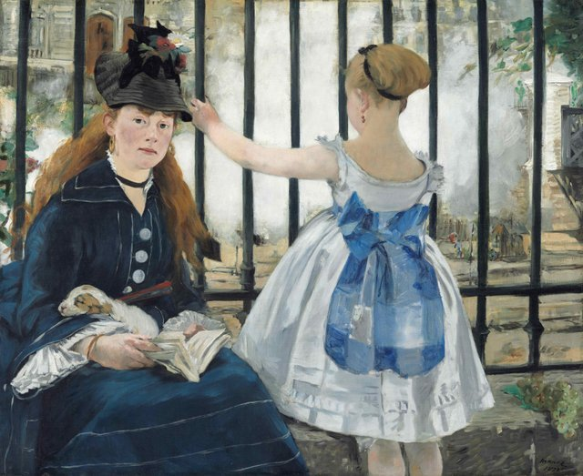 Manet: Portraying Life  26 January 2013 to 14 April 2013    Key. 60  /  Cat. 53    Edouard Manet  The Railway, 1873  Oil on canvas  93.3 x 111.5 cm  National Gallery of Art, Washington, Gift of Horace Havemeyer in memory of his mother, Louisine W. Havemeyer, 1956.10.1  Photo courtesy of the National Gallery of Art, Washington    Exhibition organised by the Royal Academy of Arts, London with the Toledo Museum of Art, Ohio.