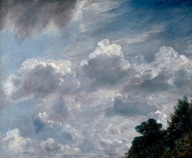 PL000446  John Constable, R.A.  Cloud Study, Hampstead, Tree at Right  11 September 1821  24.10 x 29.90 cm  Oil on paper laid on board, red ground  Photo credit: �© Royal Academy of Arts, London; Photographer: John Hammond