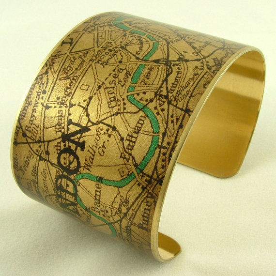 Santa's Lap: Vintage London Map Bracelets