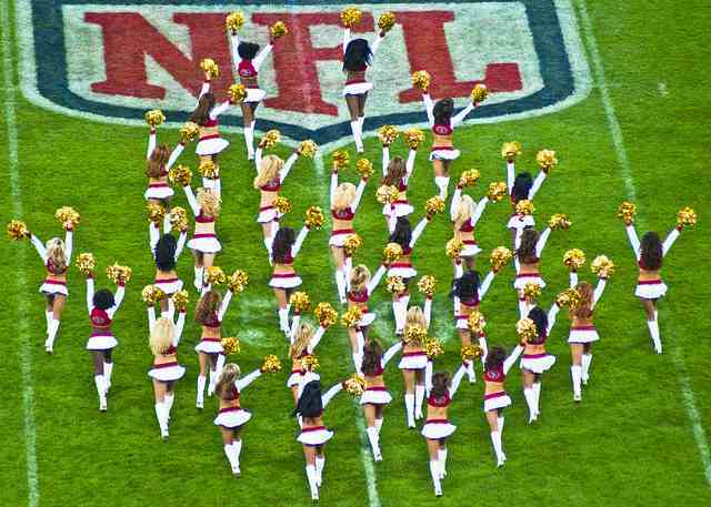 Cheerleaders at an NFL game