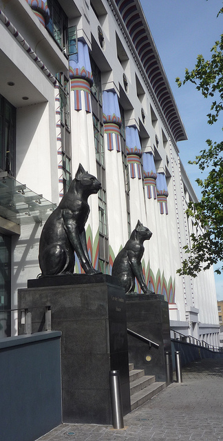 "Bronze Cats: Carreras Cigarette Factory - ""The black cat was the logo of Carreras Cigarettes, designed by M.E and O.H Collins with A.G Porri in 1928, just a few years after Howard Carter had discovered the tomb of the Tutankhamun."" Photo and info by curry15"