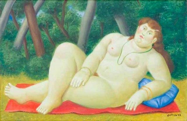 Fernando Botero (1932 -) Reclining woman, 1998. Image courtesy Opera Gallery.