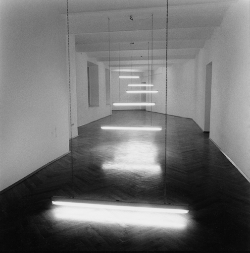 Brigitte Kowanz Light Steps (1990)  Installation view, Galerie Zumtobel, Vienna © the artist Photo: Matthias Hermann