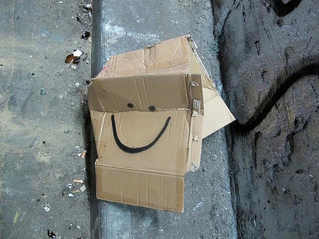 Even this abandoned cardboard box is happy, by David Crausby