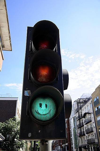 Traffic light on Old Street, by Paul Carstairs