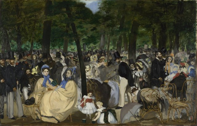 Key. 31  /  Cat. 26    Edouard Manet  Music in the Tuileries Gardens, 1862  Oil on canvas  76.2 x 118.1 cm  The National Gallery, London. Sir Hugh Lane Bequest, 1917    Exhibition organised by the Royal Academy of Arts, London with the Toledo Museum of Art, Ohio.