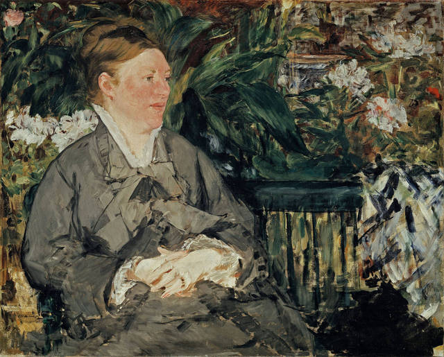 Manet: Portraying Life  26 January 2013 to 14 April 2013    Key. 15  /  Cat. 6    Edouard Manet  Mme Manet in the Conservatory, 1879  Oil on canvas  81 x 100 cm  The National Museum of Art, Architecture and Design, Oslo  Photo Borre Hostland    Exhibition organised by the Royal Academy of Arts, London with the Toledo Museum of Art, Ohio.