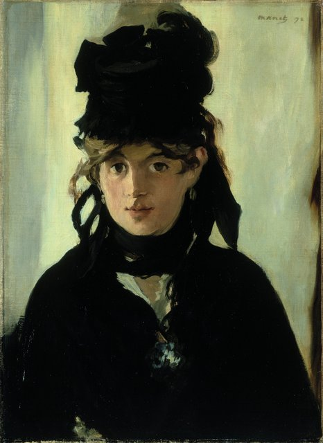 Manet: Portraying Life  26 January 2013 to 14 April 2013    Key. 33  /  Cat. 16    Edouard Manet    Berthe Morisot with a Bouquet of Violets, 1872  Oil on canvas, 55.5 x 40.5 cm  Musee d Orsay, Paris. Acquis avec la participation du Fonds du Patrimoine, de la Fondation Meyer, de Chine Times Group  et d un mecenat coordonne par le quotidien Nikkei, 1998  Photo copyright RMN (Musee d'Orsay) / Herve Lewandowski    Exhibition organised by the Royal Academy of Arts, London with the Toledo Museum of Art, Ohio.