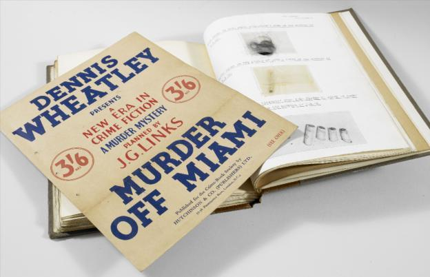 "Dennis Wheatley's murder mystery ""dossiers"" including physical clues, such as cigarette butts and human hair, alongside letters and reports (1930s)"