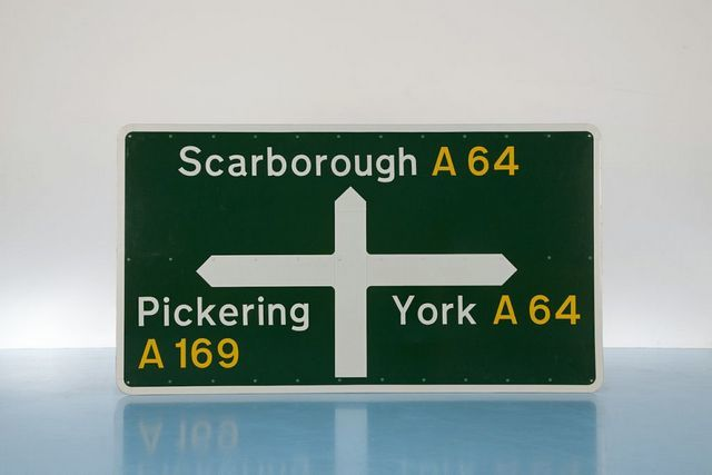 Road Sign - Jock Kinneir & Margaret Calvert, 1964. Image courtesy Design Museum.