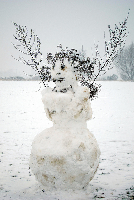 Walthamstow Marshes snowman by laurajhirst