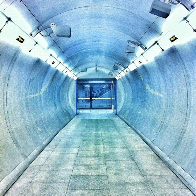 This colourful shot of a platform tunnel on the Tube was taken by Sabrina Bertazzo. She thinks it was Southwark, but it was a long time ago.