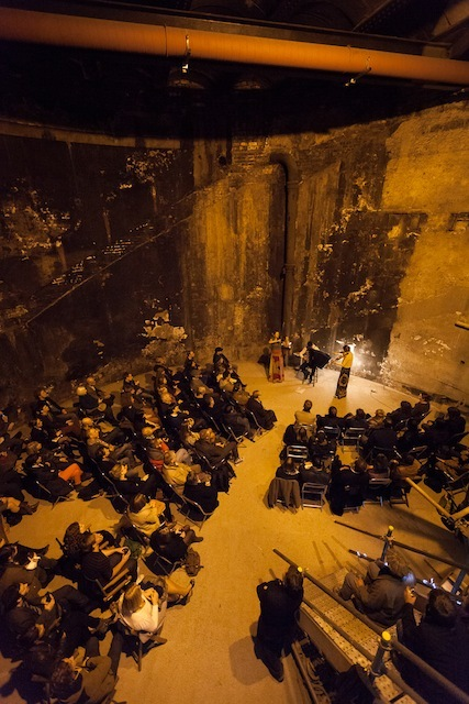Kosmos Ensemble play in the Thames Tunnel shaft at the Brunel Museum in Rotherhithe, South East London on 18 October 2012. Harriet Mackenzie (violin), Meg Hamilton (viola) and Miloš Milivojevi� (accordion).