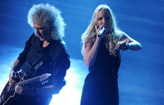 British singers Brian May (L) and Kerry Ellis perform at the Ariston Theatre in San Remo, during the 62nd Sanremo Music Festival on February 16, 2012. AFP PHOTO / TIZIANA FABI (Photo credit should read TIZIANA FABI/AFP/Getty Images)