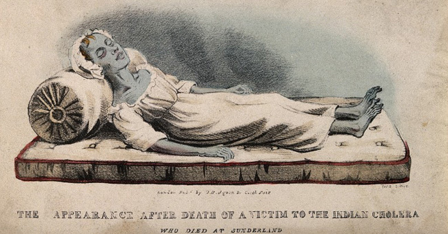 V0010484 A dead victim of cholera at Sunderland in 1832. Coloured lit