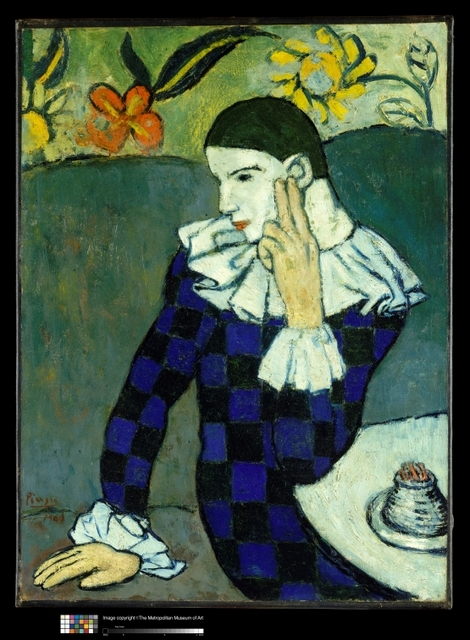 Picasso, Pablo (1881-1973): Harlequin, 1901. New York, Metropolitan Museum of Art*** Permission for usage must be provided in writing from Scala.