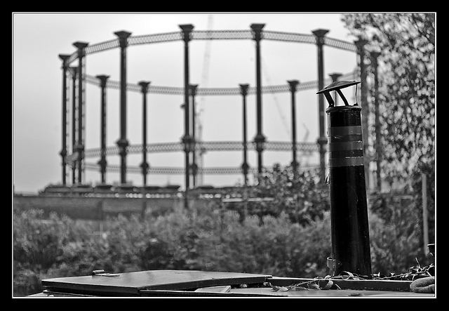 Barge chimney and Kings Cross gas holder by Louis Berk