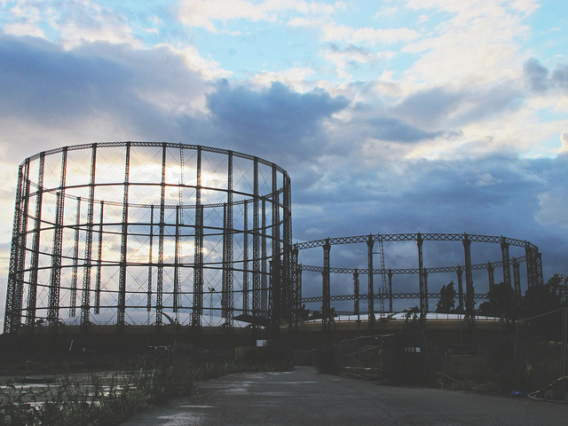 Gas holders by Sainsburys, Ladbroke Grove by worldly images