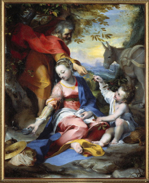 S0077934 Rest on the Flight into Egypt. Before 1573. Oil on canvas, 133 x 110 cm.  Image licenced to Jason Gray Saint Louis Art Museum by Jason Gray Usage :  - 3000 X 3000 pixels (Letter Size, A4)  © Scala / Art Resource