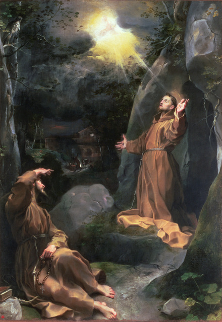 AII80461 St. Francis receiving the stigmata; by Barocci or Baroccio, Federico Fiori (c.1535-1612); oil on canvas  353 X 248 cm; Palazzo Ducale, Urbino, Italy; Italian, out of copyright