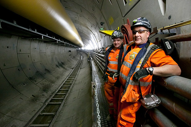 Workers in the tunnel at the western end.