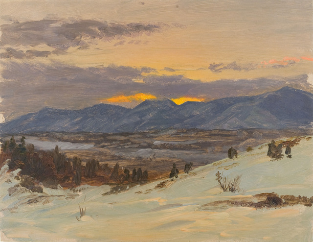 Winter Twilight from Olana Frederic Edwin Church about 1871-2. © New York State Office of Parks, Recreation and Historic Preservation / Olana State Historic Site, Hudson, NY
