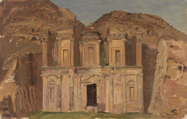 Ed Deir, Petra, Jordan. 1868. Oil, graphite on thick paper. 32.8 x 51.1 cm. Gift of Louis P. Church, 1917-4-485-b. Photo: Matt Flynn © Smithsonian Institution