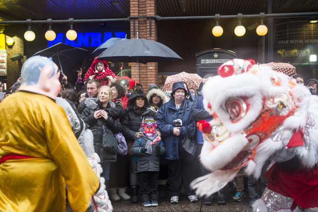 Chinese dragon dancing on the streets