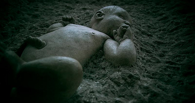 Inception: Baby carved from a stone block outside St Martin's in the Fields Trafalgar Square by - Ronski -