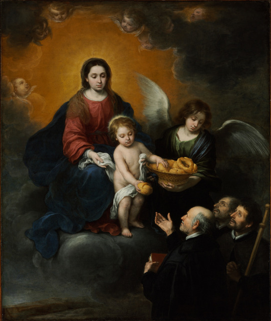 Bartolomé Esteban Murillo, The Virgin and Child distributing Bread to Priests, 1679, Oil on canvas, 219 x 182 cm, Szépmuvészeti Museum, Budapest