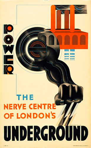 """Power: The Nerve Centre of London's Underground"" (1930) by E. McKnight Kauffer. The red building is Lots Road power station, source of the Tube's energy until 2003."