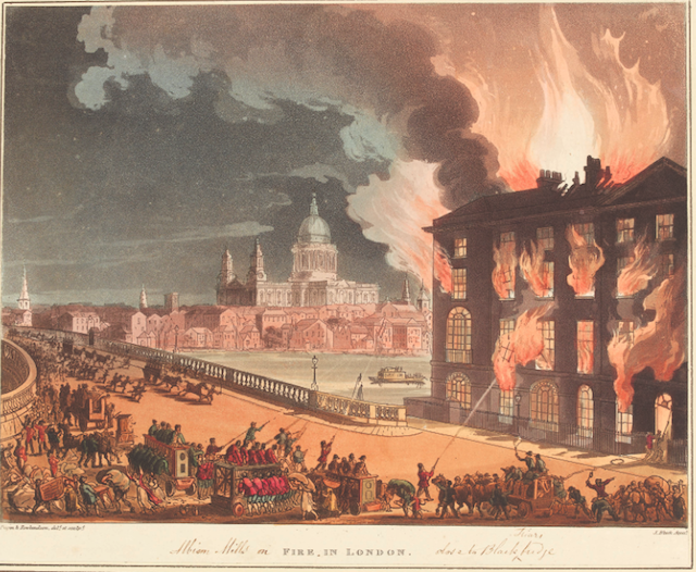 John Bluck's etching of the Albion Mills fire at the southern end of Blackfriars Bridge, 1808. ©The Trustees of the British Museum.