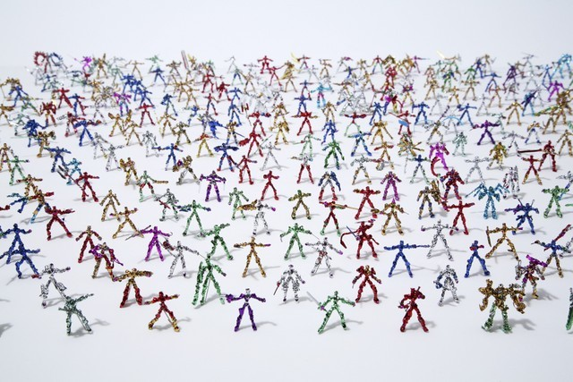 L0072895 Shota KATSUBE, Untitled Credit: Wellcome Library, London. Wellcome Images images@wellcome.ac.uk http://images.wellcome.ac.uk Shota KATSUBE Untitled, 2011  300 objects made of twist ties, each approx. 28 x 33 x 9 mm   Collection of the artist.  Photograph (c) Satoshi TAKAISHI  (From Souzou: Outsider Art from Japan exhibition, Wellcome Collection) 2011 Published:  -   Copyrighted work available under Creative Commons by-nc 2.0 UK, see http://images.wellcome.ac.uk/indexplus/page/Prices.html
