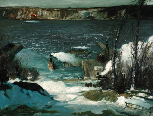 George Bellows  16 March 2013 to 9 June 2013    Key. 31  /  Cat. 25    George Bellows  North River, 1908  Oil on canvas  83.5 x 109.2 cm  Courtesy of the Pennsylvania Academy of the Fine Arts, Philadelphia,   Joseph E. Temple Fund    Exhibition organised by the National Gallery of Art, Washington, in association with the Royal Academy of Arts, London, and the Metropolitan Museum of Art, New York.