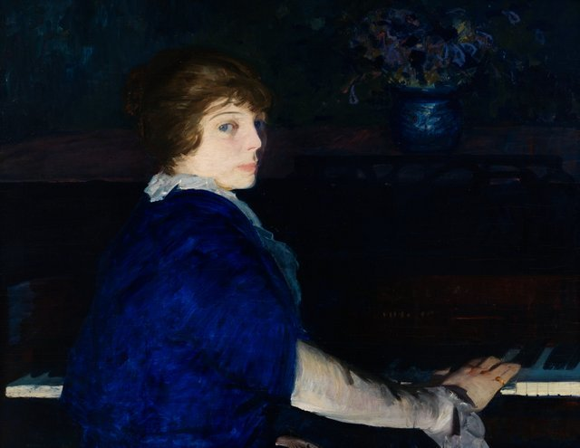 George Bellows  16 March 2013 to 9 June 2013    Key. 108  /  Cat. 74    George Bellows  Emma at the Piano, 1914  oil on panel  73 x 94 cm  Chrysler Museum of Art, Norfolk, Gift of Walter P. Chrysler, Jr.  Photo �© Courtesy of the Bellows Trust    Exhibition organised by the National Gallery of Art, Washington, in association with the Royal Academy of Arts, London, and the Metropolitan Museum of Art, New York .