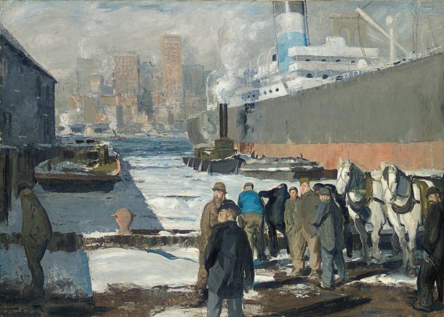 George Bellows  16 March 2013 to 9 June 2013    Key. 34  /  Cat. 37    George Bellows  Men of the Docks, 1912  oil on canvas  114.3 x 161.3 cm  Randolph College, Founded as Randoph - Macon Woman's College in 1891, Lynchburg    Exhibition organised by the National Gallery of Art, Washington, in association with the Royal Academy of Arts, London, and the Metropolitan Museum of Art, New York .