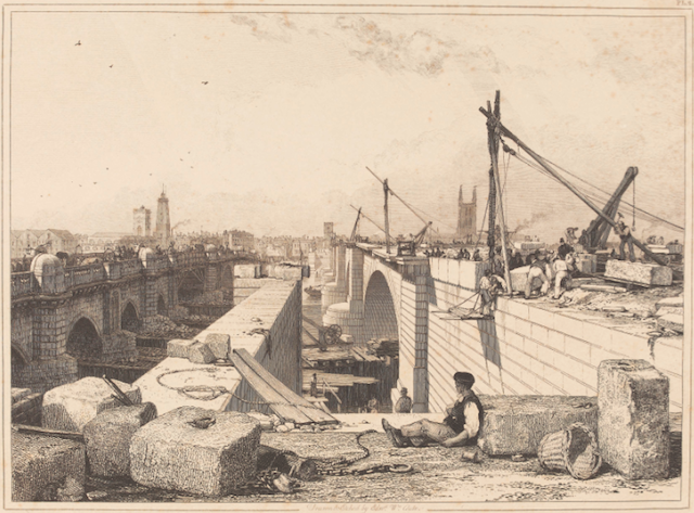 Edward William Cooke's view (1832) of old London Bridge being demolished while the new span is erected. ©The Trustees of the British Museum.