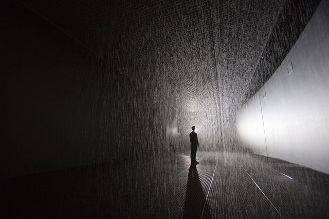 Rain Room, (The Curve, Barbican Art Gallery)  Designed by rAndom International. Image courtesy Design Museum